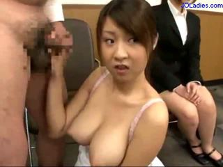 Busty Office Lady On Her Knees Giving Blowjob Cum To Mouth Spitting To Palm While Other Girl Watching Them In The Office