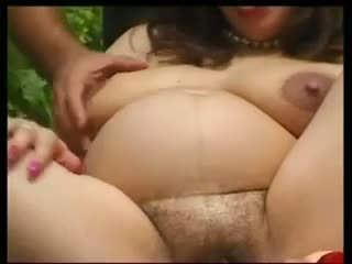 Pregnant mature outdoor sex