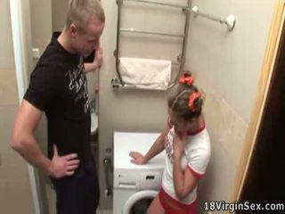 Chubby Teen Schoolgirl Has Depraved Inside The Bathroom
