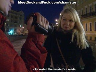 Shy blonde having casual teenage sex with cameraman
