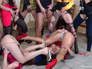 Wild lesbian pissing and fucking orgy