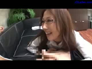 Office Lady With glasses Giving bj For Guy On The Couch In The Office