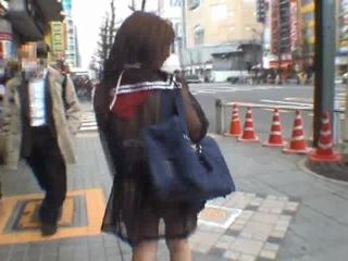Mikan astonishing एशियन स्कूलगर्ल enjoys पब्लिक