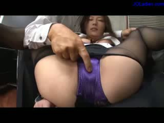 Office Lady In Pantyhose And Lingerie Amrs Tied To Legs Getting Her Pussy Rubbed Stimulated With Vibrator Fingered