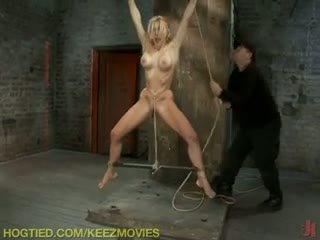 mooi vibrator actie, gebonden scène, controleren staartjes seks