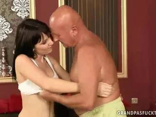 Teen enjoying hot sex with grandpa