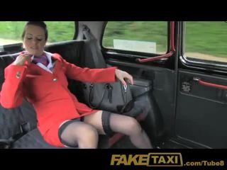 FakeTaxi Nymphomaniac Flight attendant can't get enough cock