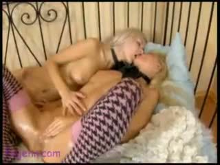 Tender Touches 3 lesbian blonde garter dildo doggy style anal