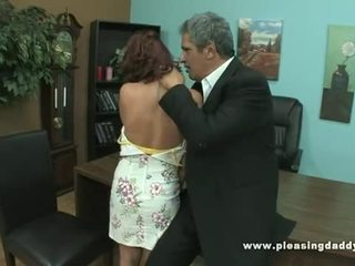 Slut getting fucked by old guy to secure job
