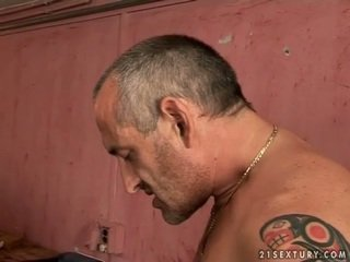 Cute rumaja pirang gets fucked by old man