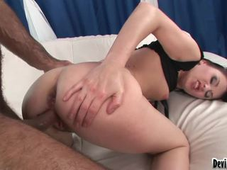 Horny Darksome Haired Angel Screwed In The Ass And Hairy Pussy !