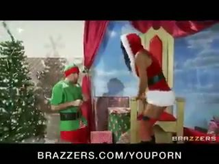 Hot big-tit brunette MILF just wants an elf's big dick for Xmas