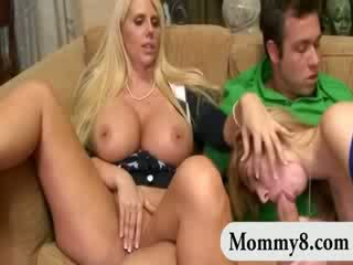 Big titted Blond mommy and daughter enjoying hot Three Some