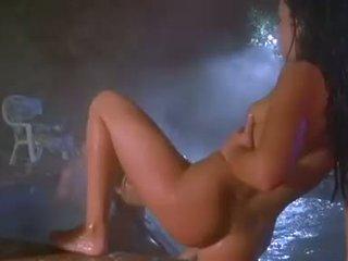 Brunette slut Lanni Barbie sucking off huge cock in hot tub with Paulina James