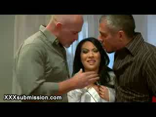 Blackmailed Asian mouth fucked by two guys in her amartment