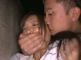 Shocked babegirl groped in Backyard