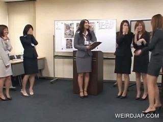 Aroused Japanese cuties flashing panties in public