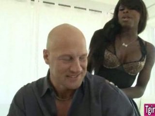 Ebony ts Bambi Prescott gets a white dick in her brown butt
