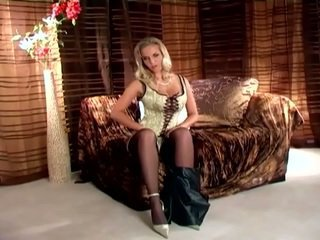 Rubbing Her Muff In Stockings And High Heels