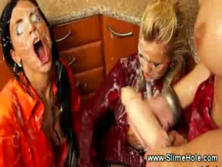 chicks Strap on fuck Blond after covering her in bukkake