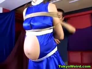 Asian Pregnant Woman Bondage