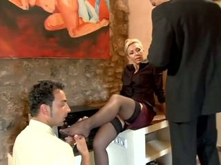 MILF boss fucked by two employees