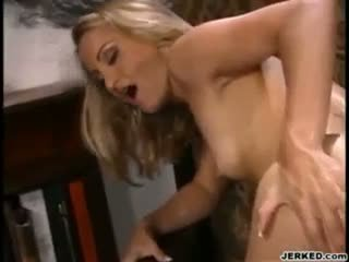 Flat chested blonde asshole fucked