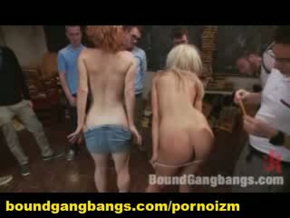 Group BDSM Gang Bang Humiliation and Torments of Slaves in Bondage