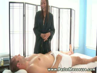 Horny slut loves rubbing down naked men during their session