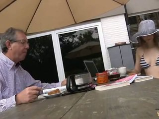 Young blonde kitten riding grandpa's cock