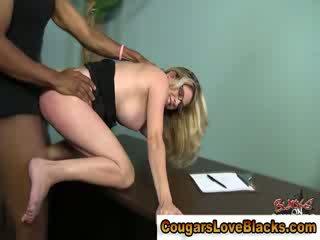 Nasty interracial cougar gets big boner
