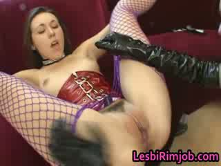 Lesbian slut gets ass fucked by strapon