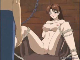 Gorące kreskówka brunetka gets tied w górę i receives a brudne lewatywa