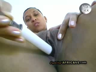 Afro hotty goes really naughty with her own sweet pussy