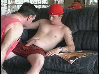 Exgirlfriend Marine loves pussy, but needs money. He's beefy, butch with tattoos and a really big cock.
