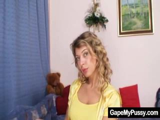 cunt, solo girl, busty blonde katya, gaping