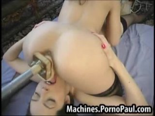 Girls share the machines