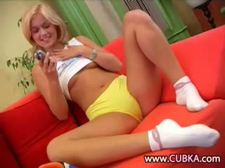 blonde making happy time with vibrator