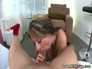 Milf striptease then gives hot bj