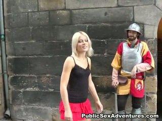 Moronic Public Making Love Around Sensuous Blonde Dame