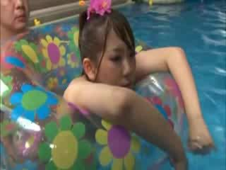 Japense slut gets fucked at the swimming pool by the horny guy