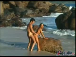 doggystyle, cum, beach