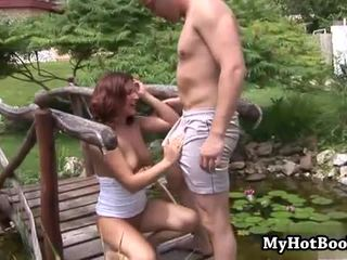 Perky tits brunette does anal outdoors