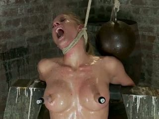 Elbows Bound Knees On Hard Wood Nipple Suction Neck Rope Breath Play Face Fucking Made To Cum