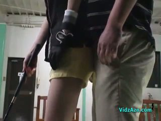 Asia prawan giving bukkake on her knees for her golep instructor