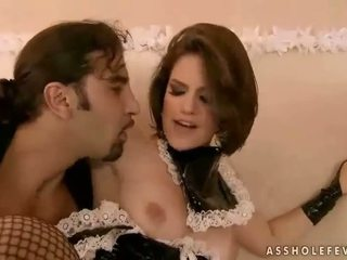 Naughty maid gets her asshole drilled