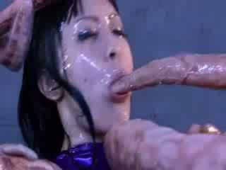 Enormous tentacles sharing sexy asian porn girl with big Melons puss and Melons