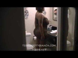 TS big booty Bianca fucks guy in bathroom