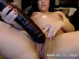 pregnant Girlfriend playing with huge toy Video