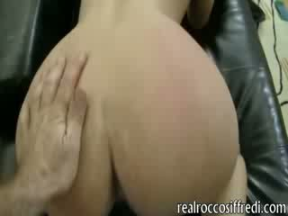 Big titted Lexy deepthroats and painful anal pounding in doggie